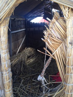 Inside a reed house on Lake Titicaca.