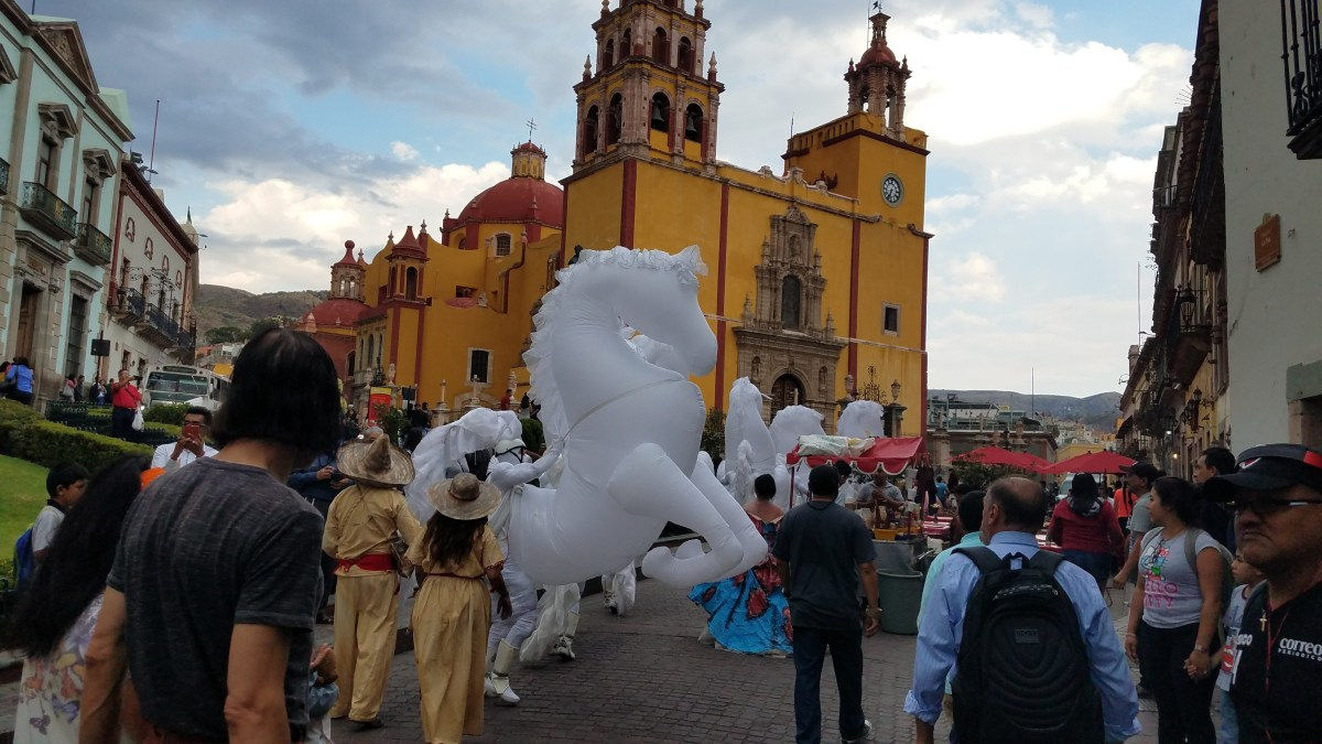 White Horses in Front of the Nuestra Señora Church in Guanajuato, Mexico