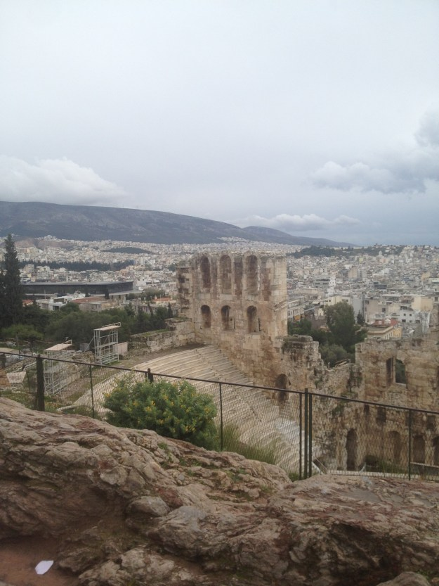 The Odeon of Herodes Atticus overlooked the city of Athens from a hill directly below the one where the Acropolis sits.