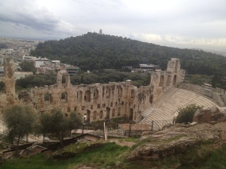 The Odeon of Herodes Atticus from atop a hill at the Acropolis.