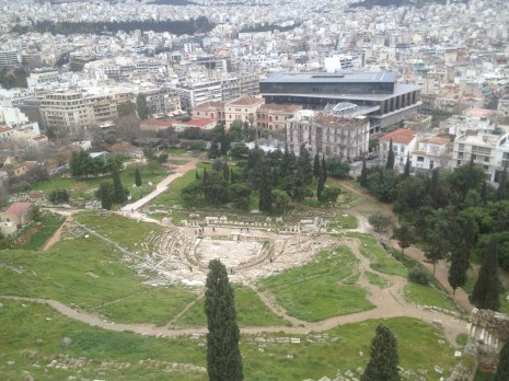 From on top of the hill at the Parthenon, we could see the surrounding ruins of the Acropolis, such as the Theater of the Dionysus.