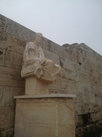 Just outside the Theater of Dionysus was a statue of the Greek playwright Menander.
