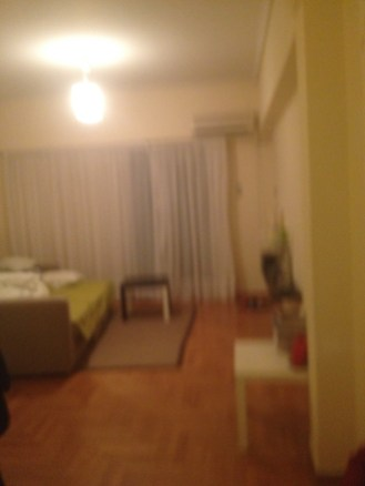 A slightly better view of the living area in our vacation rental in Athens.