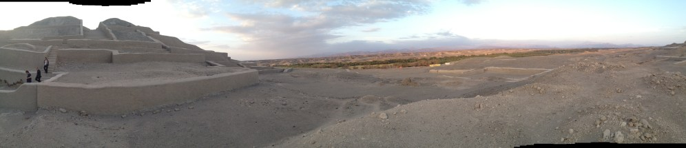 A panoramic shot of the Cahuachi ruins in Nazca, Peru.
