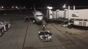 Jace's plane pulled up to the terminal on time.