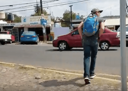 Jace Crosses the Street to the Bus Stop in Marfil, Near Guanajuato, Mexico