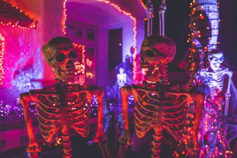 Dos esqueletos de juguete bajo luces neón, una con la mandíbula abierta. Celebración de Samhain.