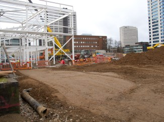 The rear of the new building viewed from Harborne Rd