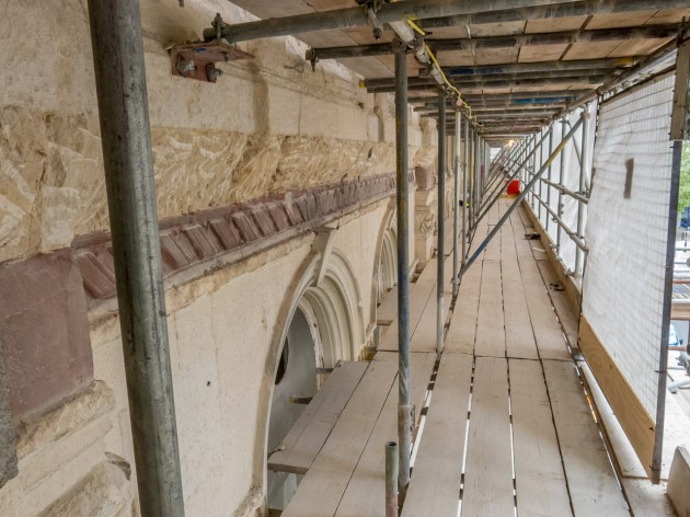 Getting lower the stonework improvesColmore Row side and some substantial and skilfull renovation needed