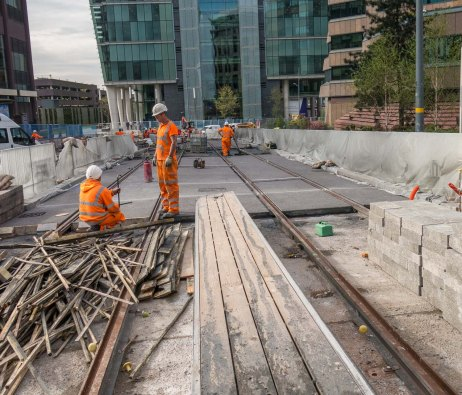 Track leading down Colmore Circus to No 1 Snow Hill office block.