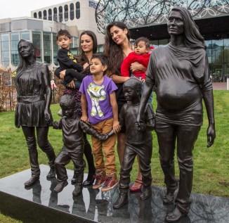 The whole family - from the left Kyam, Roma,Shaye-Jones Amin, Emma and her baby.