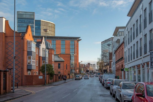 View along Sheepcote Street to Broad Street with the site in the centre distance
