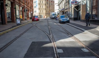 A glance up Stephenson Street towards Penfold Street shows the completed Metro tram tracks and no road works.