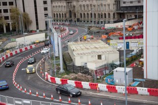 View towards the end of Great Charles Street shows the new line of the westbound carriageway. The now closed tunnel under the old libarary can be seen top right.