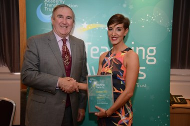 Professor Gervase Phinn with Abbi Williams from Pool Hayes Academy