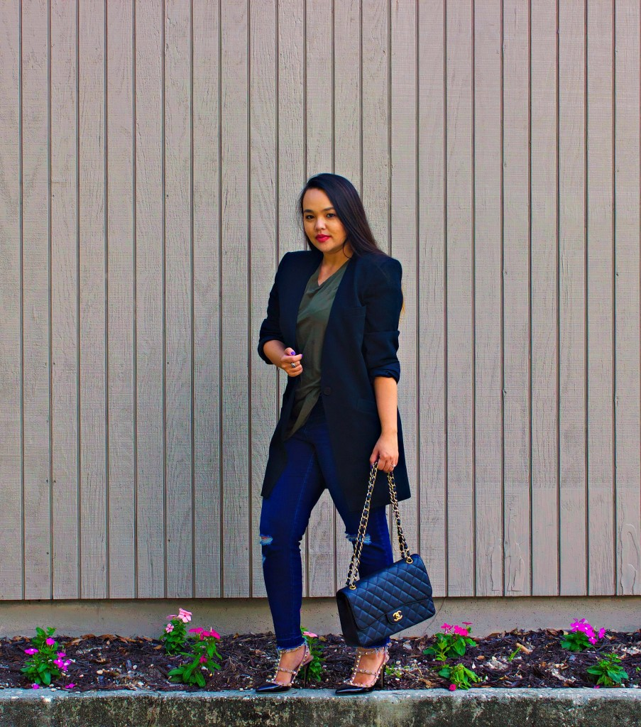 luxury goods thrifted Christian Dior Blazer and Chanel bag