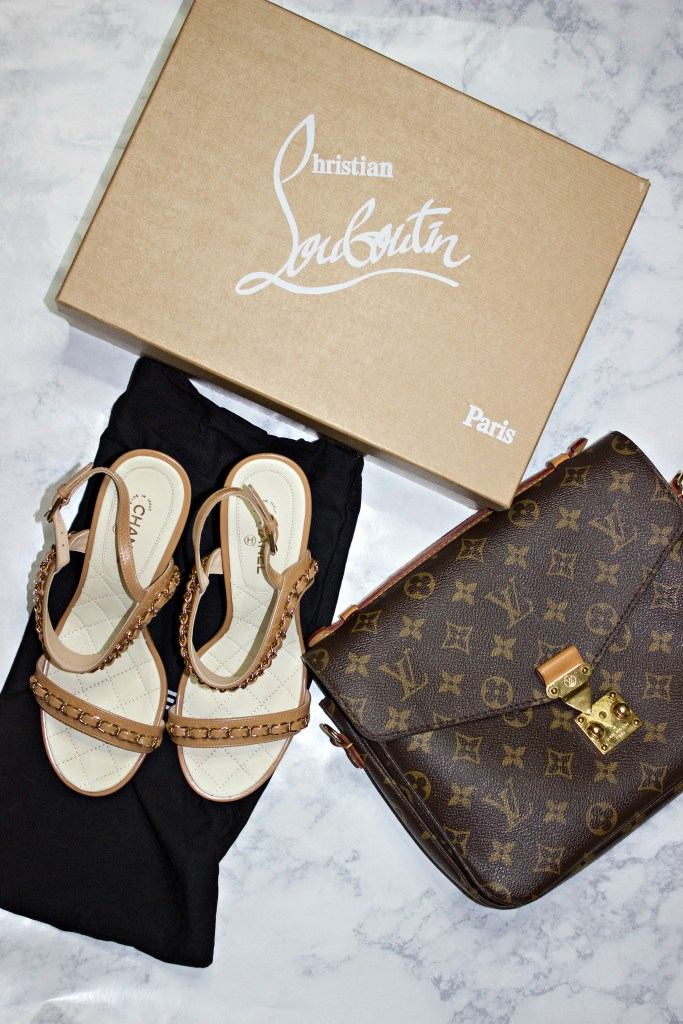 luxury goods pre owned christian louboutins and louis vuitton bag