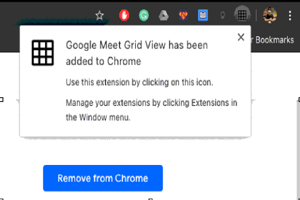 Image of Google meet grid extension in chrome