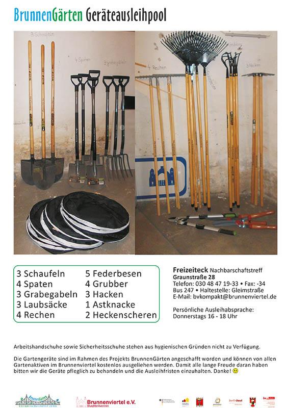 Flyer: entleihbare Gartengeräte