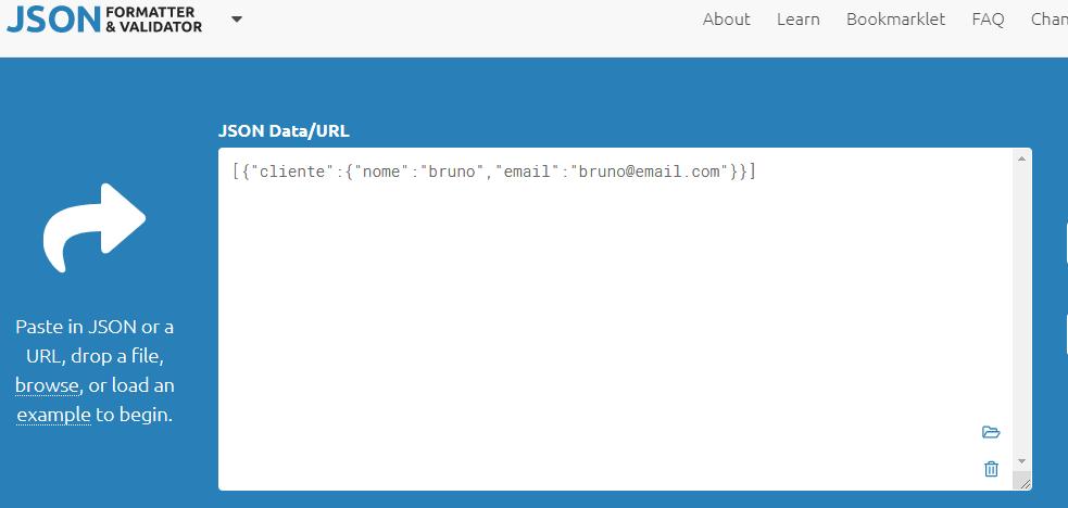 Print da área de colagem de código JSON