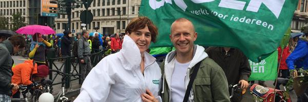 Elke Van den Brandt en Bruno De Lille op de Climate March Brussel