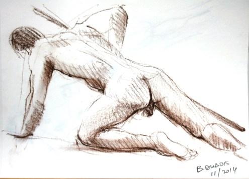 Damien au bâton en appui sur une main et sur les genoux