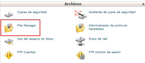 Administrador de archivos de cPanel de un hosting