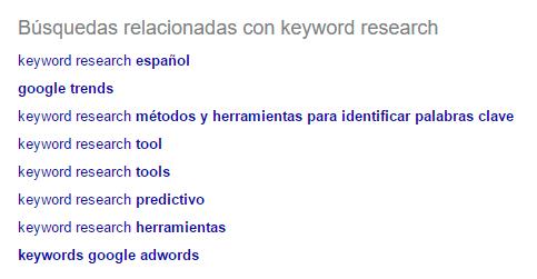 Sugerencias de palabras clave de búsquedas relacionadas de Google