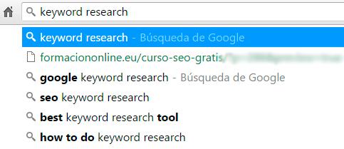 Sugerencias de palabras clave de Google Instant