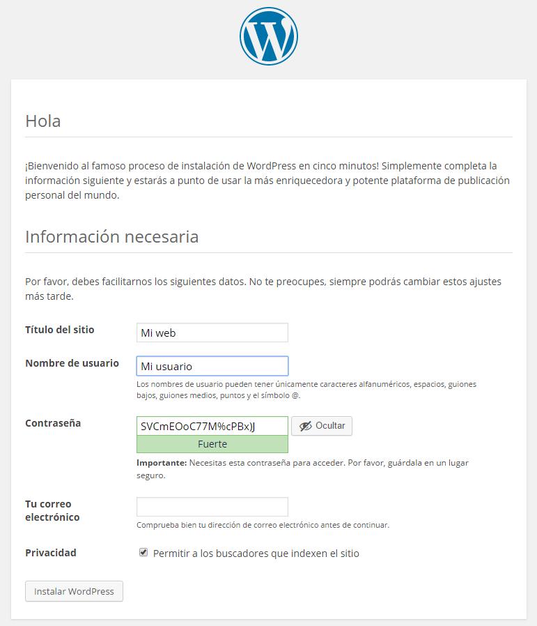 Proceso de instalación de WordPress