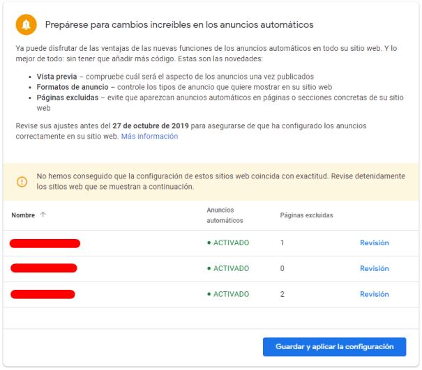 Revisión de los anuncios automáticos de Adsense en tus webs