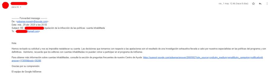 Email de confirmación de cuenta de Adsense suspendida