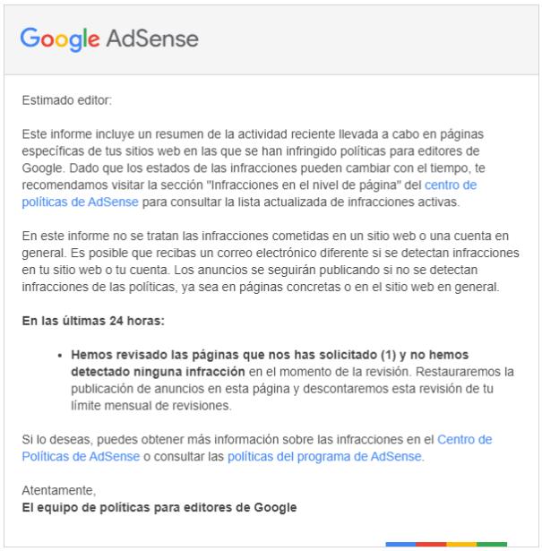 Email de Adsense con la aprobación de la revisión de contenido