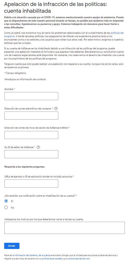 Enviar el formulario de reconsideración