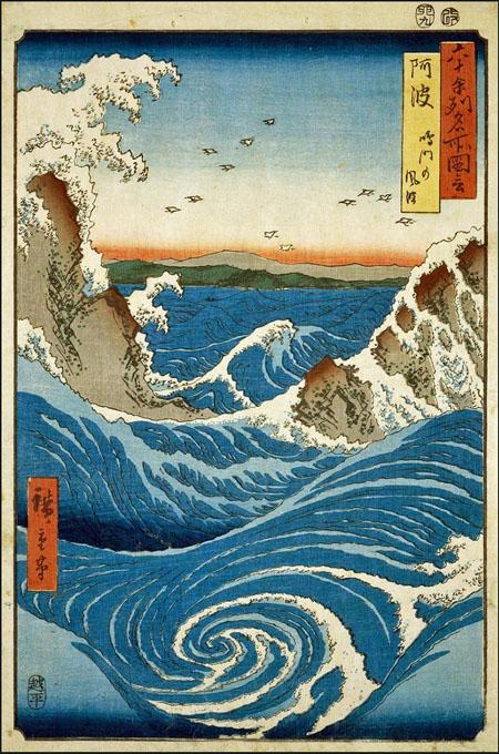 Utagawa_Hiroshige_ Les tourbillons de Naruto à Awa
