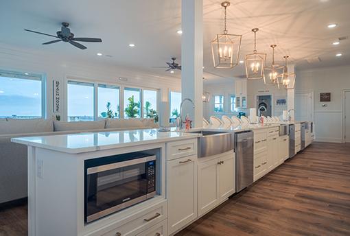 Coastal Kitchen Island with Quartz Countertops