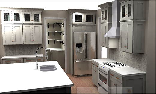 L-shaped with Island Kitchen Design 3D Rendering