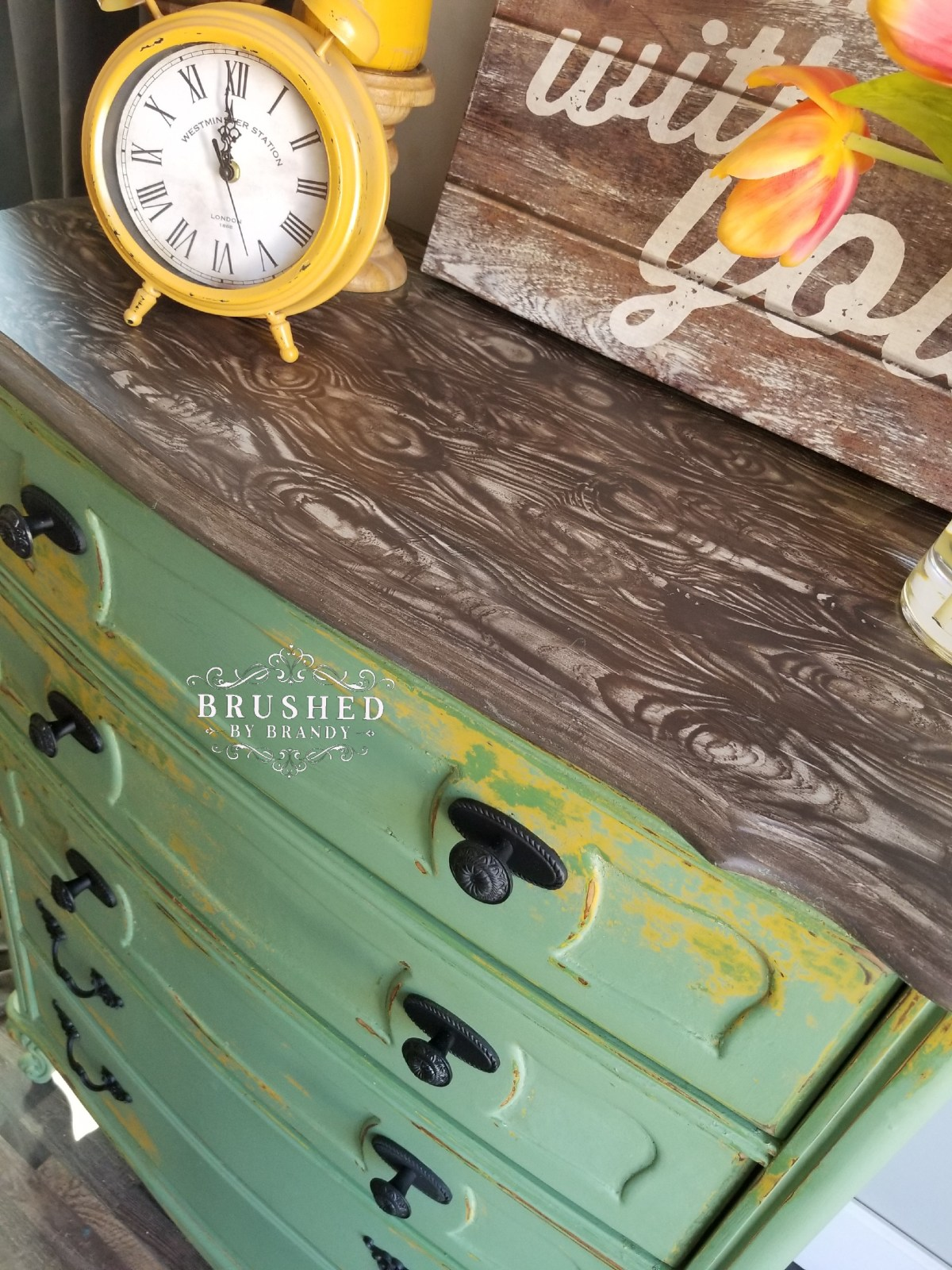 How to Create a Faux Wood Finish Green Highboy Brushed by Brandy