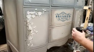 Apply Appliques on Fabulous French Cherry Blossom Buffet Makeover Brushed by Brandy