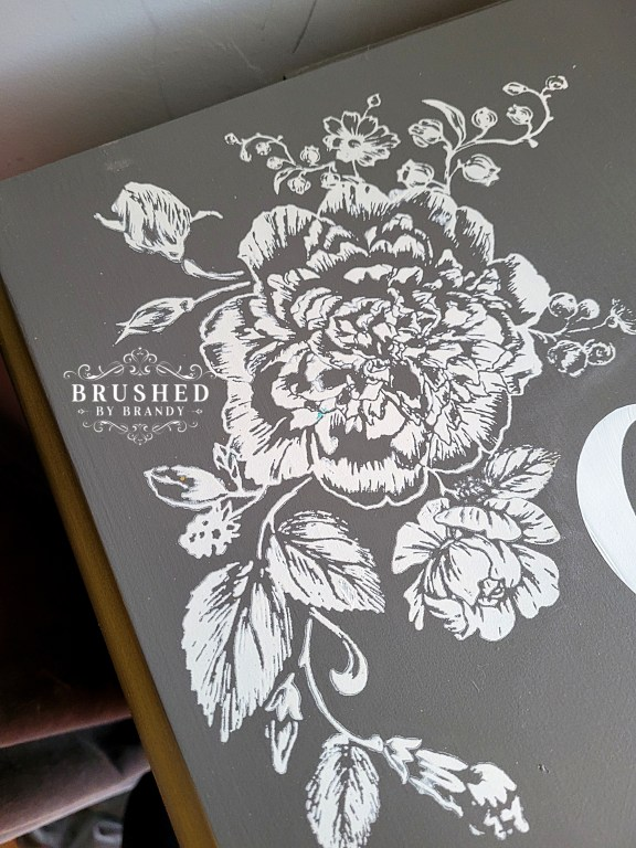 Silk Screen on a Blush and Gray Jewelry Armoire Makeover