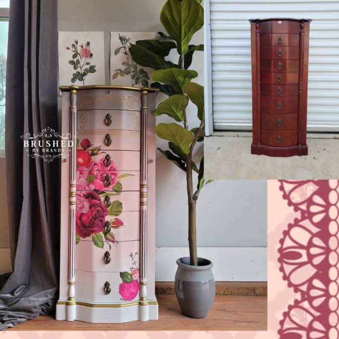 Before and after Blush and Gray Jewelry Armoire Makeover