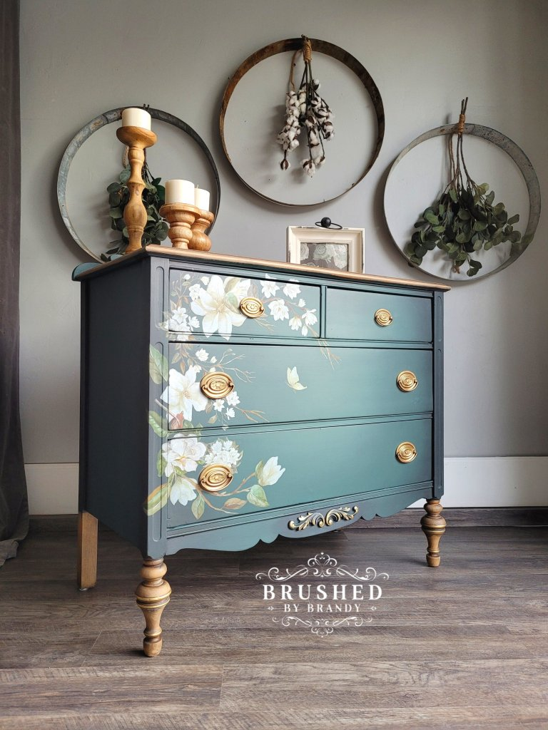 lush magnolia furniture finish on an old wood chest of drawers