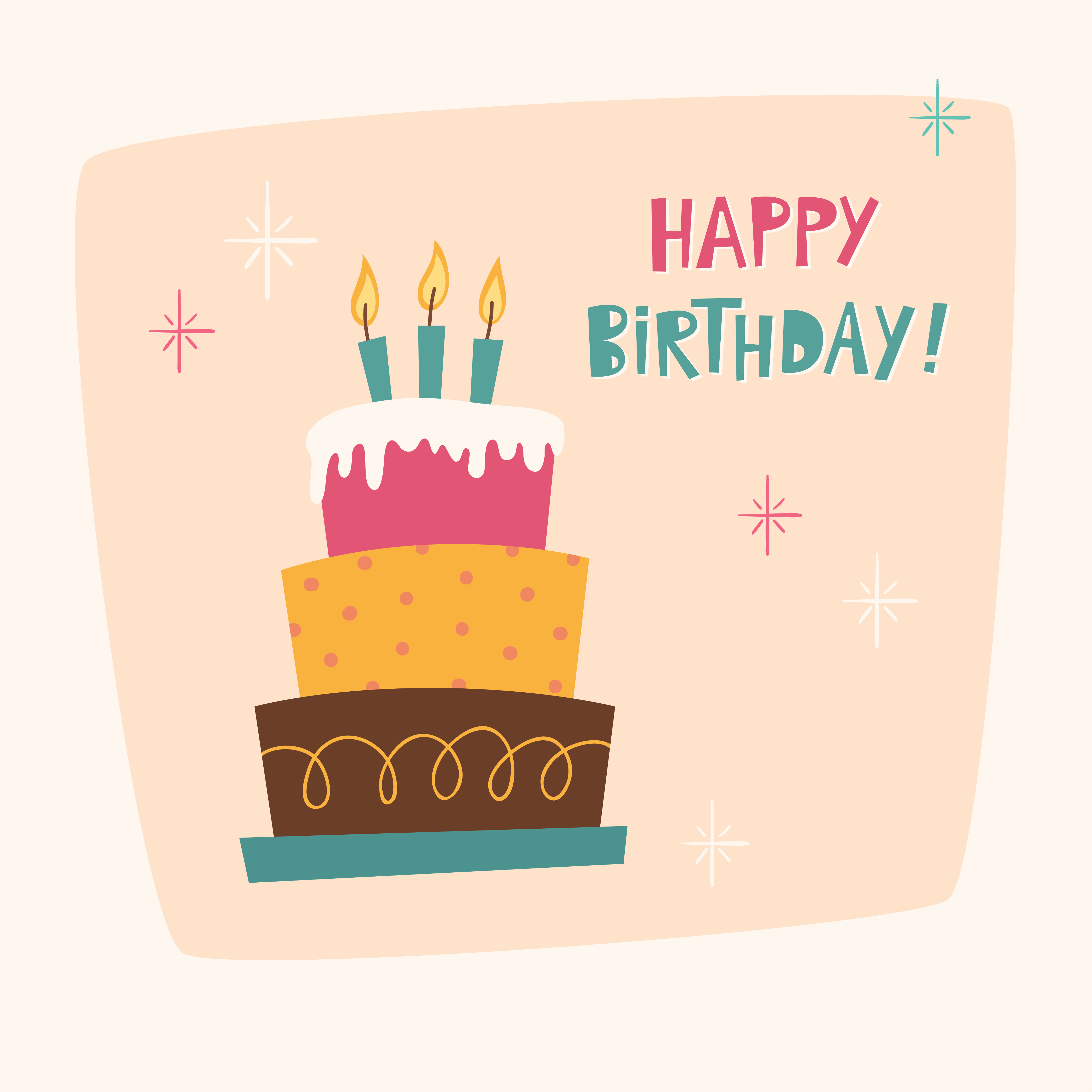 Happy Birthday Card With Cake Photoshop Vectors Brushlovers Com