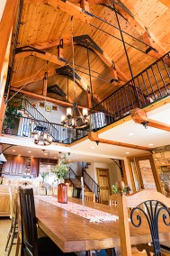 Dining with vaulted timber frame ceiling