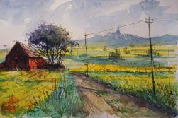 122_2016 Watercolor, Marabu Mixed Media 21,0 x 14,8 cm / 8.3 x 5.8 in - ´Rapsblüte im Marburger Land´ / `RapeBlossomSeason in the Marburg country´