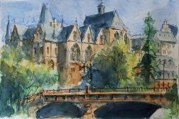 125_2016 Watercolor, Marabu Mixed Media 21,0 x 14,8 cm / 8.3 x 5.8 in - ´Marburg, alte Universität und Weidenhäuser Brücke´