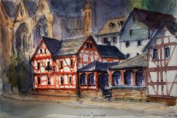130_2016 Watercolor, Marabu Mixed Media 21,0 x 14,8 cm / 8.3 x 5.8 in - `Marburg - Altes Brauhaus´