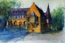 135_2016 Watercolor, Marabu Mixed Media 21,0 x 14,8 cm / 8.3 x 5.8 in - `Marburg - Deutsches Haus´