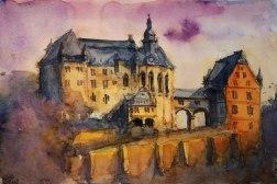 137_2016 Watercolor, Marabu Mixed Media 21,0 x 14,8 cm / 8.3 x 5.8 in - `Marburg - Landgrafenschloss II´