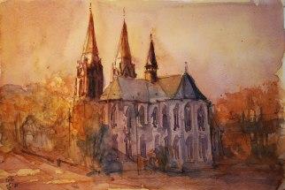 140_2016 Watercolor, Marabu Mixed Media 21,0 x 14,8 cm / 8.3 x 5.8 in - `Marburg - Elisabethkirche´
